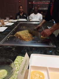 Our chef making a beating fried rice heart.