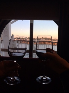 Enjoying a glass of wine as we wind down the Mississippi.