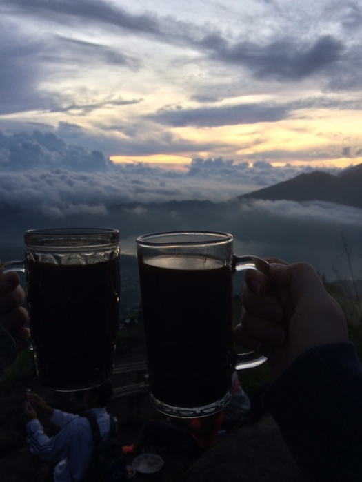 Cheers to coffee on top of a mountain!